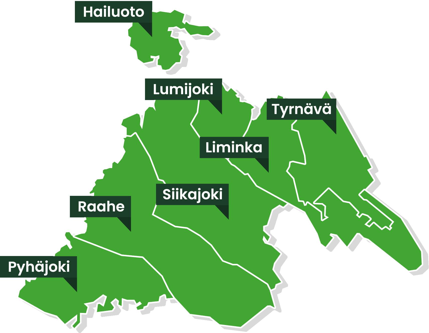 Norsun toiminta-alueeseen kuuluvat Hailuoto, Liminka, Lumijoki, Pyhäjoki, Raahe, Siikajoki ja Tyrnävä.